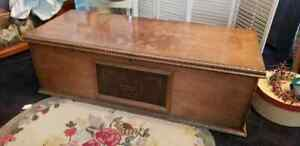 Fantastic Old Wooden Trunk With Leather Embossed Front Panel