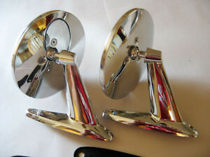 Vintage Chrome Oval Mirrors Classic Musclecar Hotrod Lowrider Resto Complete Kit