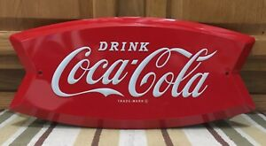 Coca Cola Fishtail Drink Ice Cold Bottle Cap Vintage Style Coke Soda Wall Decor