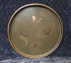 Antique Vintage Japan Lacquered Wood Round Gilt Butterflies Tray
