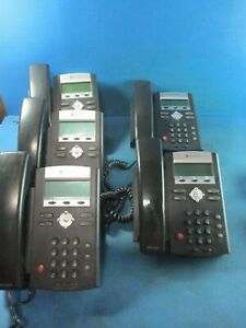 Lot Of 5 Polycom Ip 335 Office Phones With Handsets And 3 Stand Used