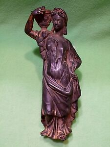 Antique Spelter Classical Greco Roman Woman Holding And Urn Great Old Patina