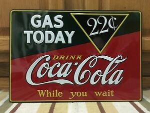 Coca Cola Gas Today Drink Ice Cold Bottle Cap Vintage Style Coke Soda Wall Decor