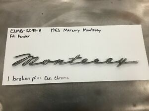 1963 Mercury Monterey S55 Front Fender Emblem Excellent Chrome
