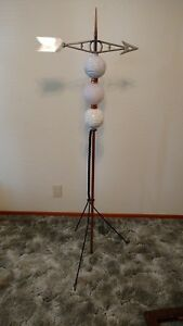 Vintage Lightning Rod Weathervane Moon Star Balls 59 Tall With Stand