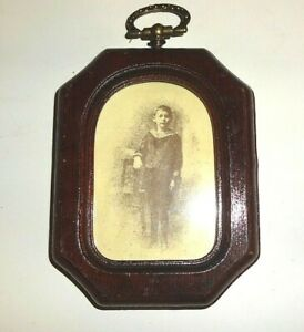 Vintage Mini Wood Picture Frame With Hook
