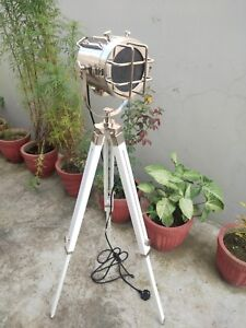Chrome Floor Lamp With Wooden Tripod Stand Spotlight Home Decor