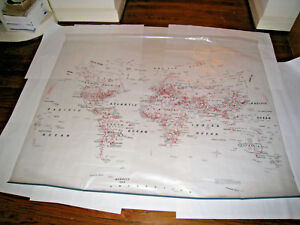 Nystrom World Map Large Wall Hanging Plastic Can Be Marked 52 62 1sr98 1