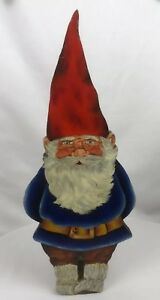 Vintage Handmade Painted Wood Cutout Gnome Door Stop Adorable