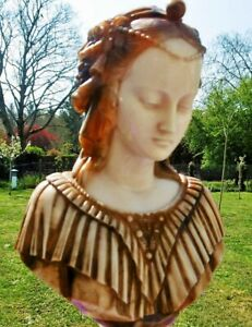Antique Sculpture Bust On Table Beginning 20th Century Art Nouveau Marble France