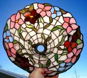Antique Vintage Leaded Stained Art Glass Lamp Shade Flowers Foliage Pattern