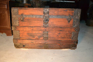 Vtg Steamer Trunk Wood Rr Chest Coffee Table Base Antique