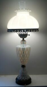 Vintage 1940s 50s Fenton Coin Dot Electric Gwtw Table Lamp W Milk Glass Shade