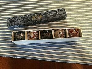 Five 5 Kanewaka Japan Handpainted Ceramic Pottery Tea Sushi Sake Cups