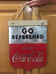 Go Refreshed Drink Coca Cola Metal Banner Decor Coke Soda Beverage Gas Station