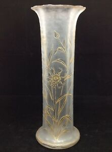 Large Antique Mont Joye Legras Art Nouveau Vase Gold Enamel Flowers
