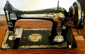 1910 Singer Sewing Machine Sphinx Treadle With Crank Model F 2293590