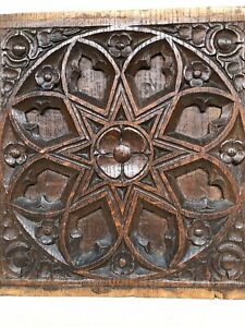 Beautiful Carved Gothic Panel In Wood Oak 2