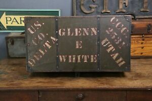 Vintage Trunk Army Chest Box Luggage Piqua Ohio Military Us Delta Coffee Table