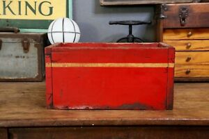 Vintage Wooden Fire Truck Tool Box Primitive Flower Box Old Red Yellow Storage