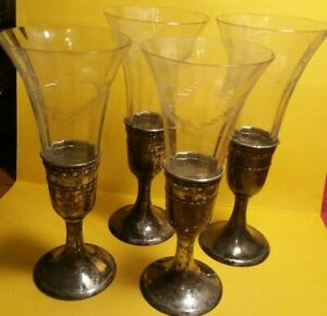 Set Of 4 Etched Crystal On Sterling Silver Base Kiddish Cups Pre 1935 Reduced