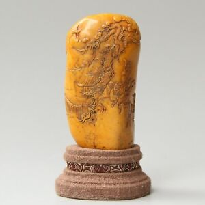 Chinese Hand Carved Landscape People Carving Shoushan Stone Seal With Box