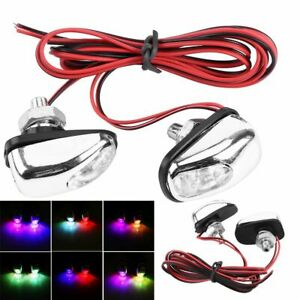1 Pair Of Car Led Light Wiper Hood Windshield Water Spray Nozzle Washer Lamp