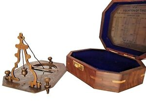Antique Vintage Brass Cox London Sundial Compass Wooden Box Equation Of Time Box