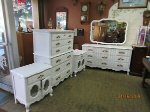 Vintage French Provincial Four Piece Bedroom Set By Bassett