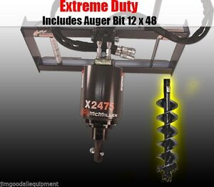 Skid Steer Auger 3000psi Extreme Duty gear Drive mcmillen X2475 W 1