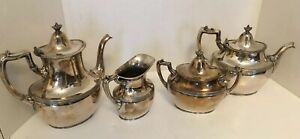 Vintage Silver Plate Coffee Tea 4 Piece Set Meriden Co Rogers Bros Made In Usa