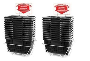 New 24 Standard Shopping Baskets Chrome Handles Metal Stand And Sign Black