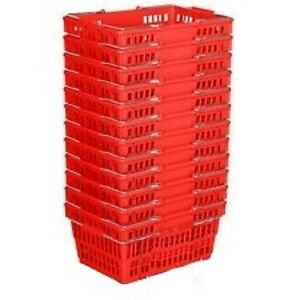 New 12 Standard Shopping Baskets Chrome Handles Red