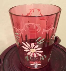 Antique Hand Painted Pink Drinking Glass