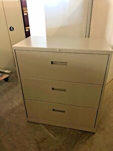3 Drawer Lateral Size File Cabinet By Steelcase Office Furniture 36 w In Beige