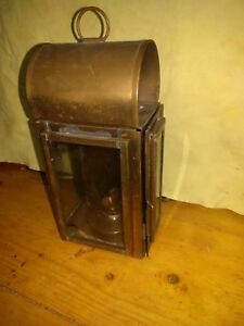 Vintage Wedge 9 1 2 Brass Ship Mount Oil Lantern