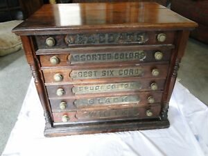 Antique Country Store Six Drawer Spool Cabinet J P Coats Advertising