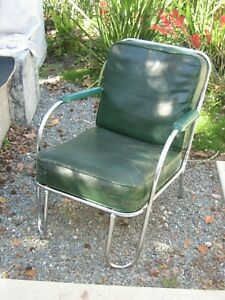 Vintage Deco Lounge Chair Machine Age Chrome 1930 S Lloyd Streamline Industrial