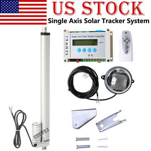 Lcd 1kw Solar Tracking Single Axis Sunlight Tracker 14 Dc Linear Actuator Kit