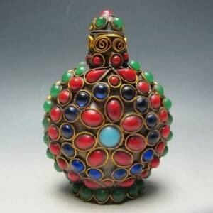Exquisite Chinese Turquoise Coral Beads Handmade Snuff Bottle Rt