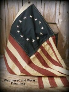 Primitive Aged Fabric Betsy Ross 13 Star Patriotic American Flag 17 X 28 Wide