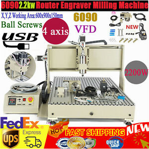 Usb 4 Axis 6090 Cnc Router Engraver 2 2kw Wood Carving Engraving Milling Machine