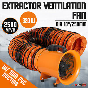 10 Extractor Fan Blower Portable 10m Duct Hose High Velocity Fume 2800 Rpm