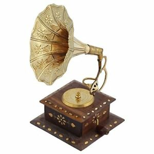 Vintage Wood Gramophone Player Replica 12 Cm X 12 Cm X 17 Cm Brown