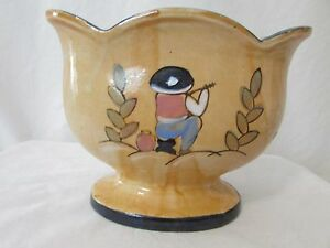 Antique Vase Bowl Made In Japan Beautiful Unique Shape Oval Circa 1930 S