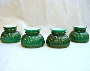 Set Of 4 Old Sconce Shades Green Cased Glass Small Ribbed