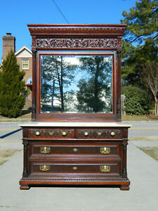 Large Mahogany Aesthetic Marble Top Dresser Dresser
