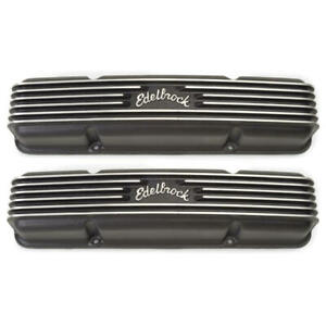 Edelbrock Valve Cover Set 41453 Classic Series Black Aluminum For Chevy Sbc