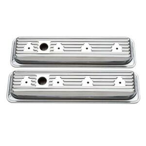 Edelbrock Valve Cover Set 4446 Signature Series Chrome Steel For Chevy Sbc