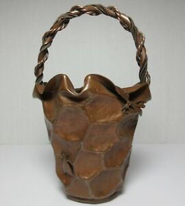 Meiji Japanese Hand Wrought Hammered Applied Copper Insects Basket Form Vase